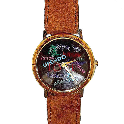 Languages Of Love Fossil LTD Unworn Watch, Nice Pyramid Crystal, Suede Band! $69