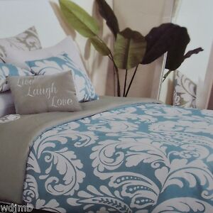 STOREHOUSE Aqua Blue LARGE MODERN DAMASK Microfiber 3pc KING Duvet Cover SET