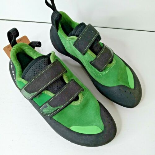 CLIMBX Rave NLV Green Rock Climbing Shoe Organic Hemp Lining Unisex W 7.5 M 6.5
