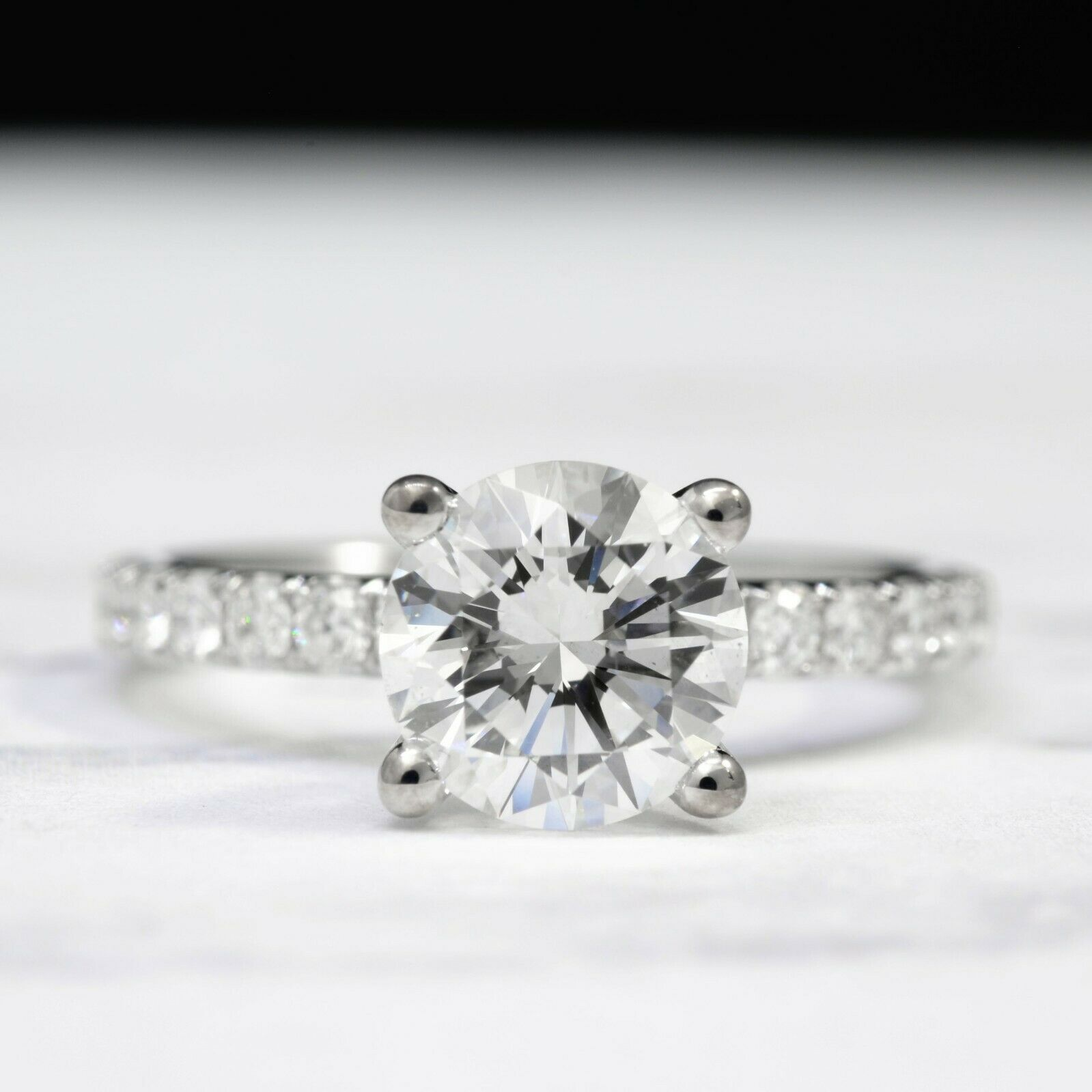 1.57 TCW Natural Round Cut U-Pave Diamond Engagement Ring - G-SI1 Triple X GIA  3
