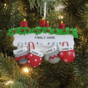 Mitten family of 4 personalized holiday christmas tree for Family of 4 christmas ornament