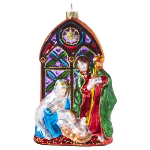 RAZ Imports Religious Christmas Holy Family Nativity Scene Glass Ornament 5 inch
