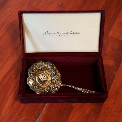 Goldinger Silver Art Repousse Ornate Tea Strainer Spoon w/Velvet Box