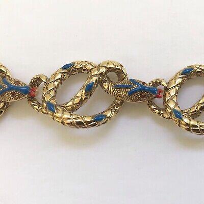 Vintage Signed KJL Kenneth Jay Lane Enamel Snake Serpent Link Bracelet Kenneth Jay Lane Snake