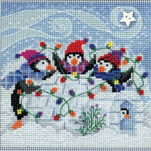 Playful Penguins Cross Stitch Kit Mill Hill 2018 Buttons Bea