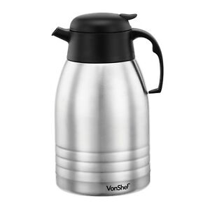 VonShef Vacuum Flask 2L Stainless Steel Dispenser Insulated Hot & Cold Tea Jug