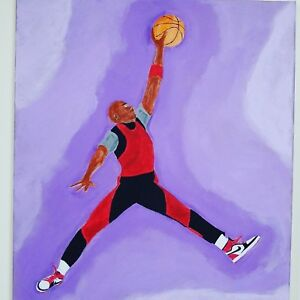 Michael Jordan logo acrylic painting on canvas