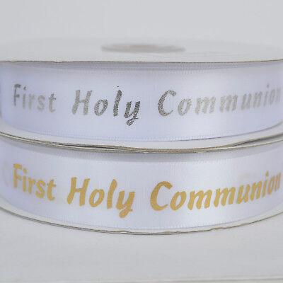 First Communion Ribbon (First Communion ribbon White/ gold or White/ Silver 20mm wide sold per)
