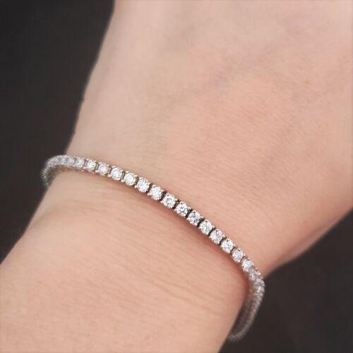 "Vintage 3.72ct Diamond 14k White Gold Tennis Bracelet Eternity Line Estate 7.5"""