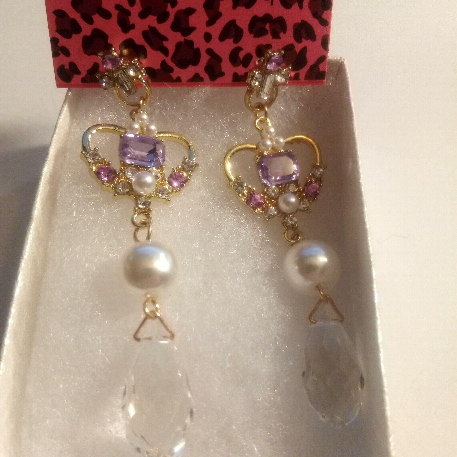 Betsey Johnson Rhinestone Heart  Dangle earrings