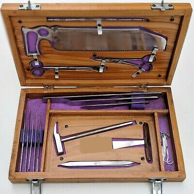 Post Mortem Instrument Set Autopsy Dissection Kit Anatomy 19pcs Wooden Box B