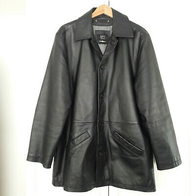 Retro Vintage Style 1860 Black Leather Jacket Size L  - Genuine Leather