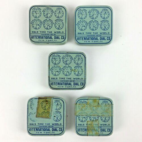 Lot 5 1941 INTERNATIONAL DIAL Tins Watch Dials Parts NY Square Vtg Advertising