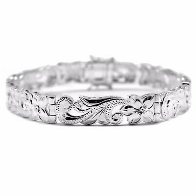 925 Sterling Silver Hawaiian Hibiscus Plumeria Bracelet Engraved Solid Cuff