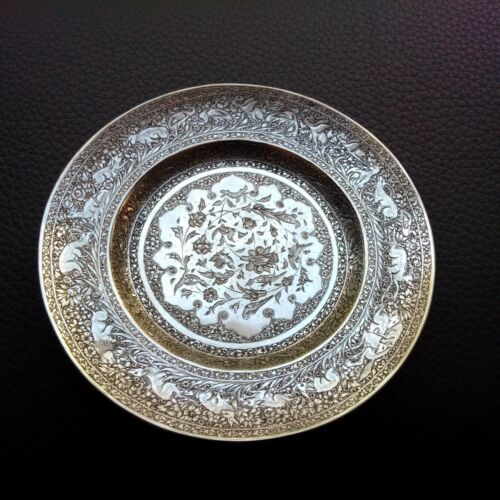 PERSIAN ART EXHIBITION, ANTIQUE MUSEUM PIECE SOLID SILVER DISH PLATTER TRAY