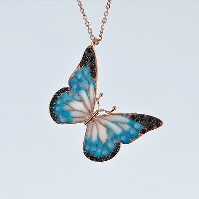 Hand Painted Sterling Silver Enamel Butterfly Pendant Necklace 19