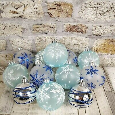 Frosted and Clear Christmas Tree Baubles Hanging Ornaments Xmas Decorations