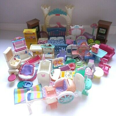HUGE LOT Fisher Price VTG Loving Family Furniture and Accessories x 50 + Extras