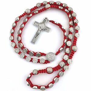 Medalla de San Benito Rosary Beads Decade Prayer Protection Red Shamballa