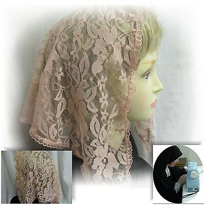 Lace Chapel Veil Mantilla Rose Color  Catholic Latin Mass Head Covering LARGE