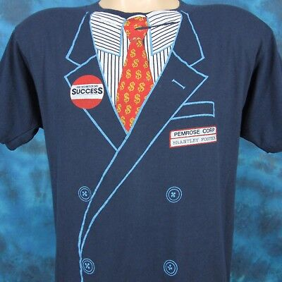 vtg 80s SECRET OF MY SUCCESS MOVIE T-Shirt S/M tuxedo costume michael j fox suit
