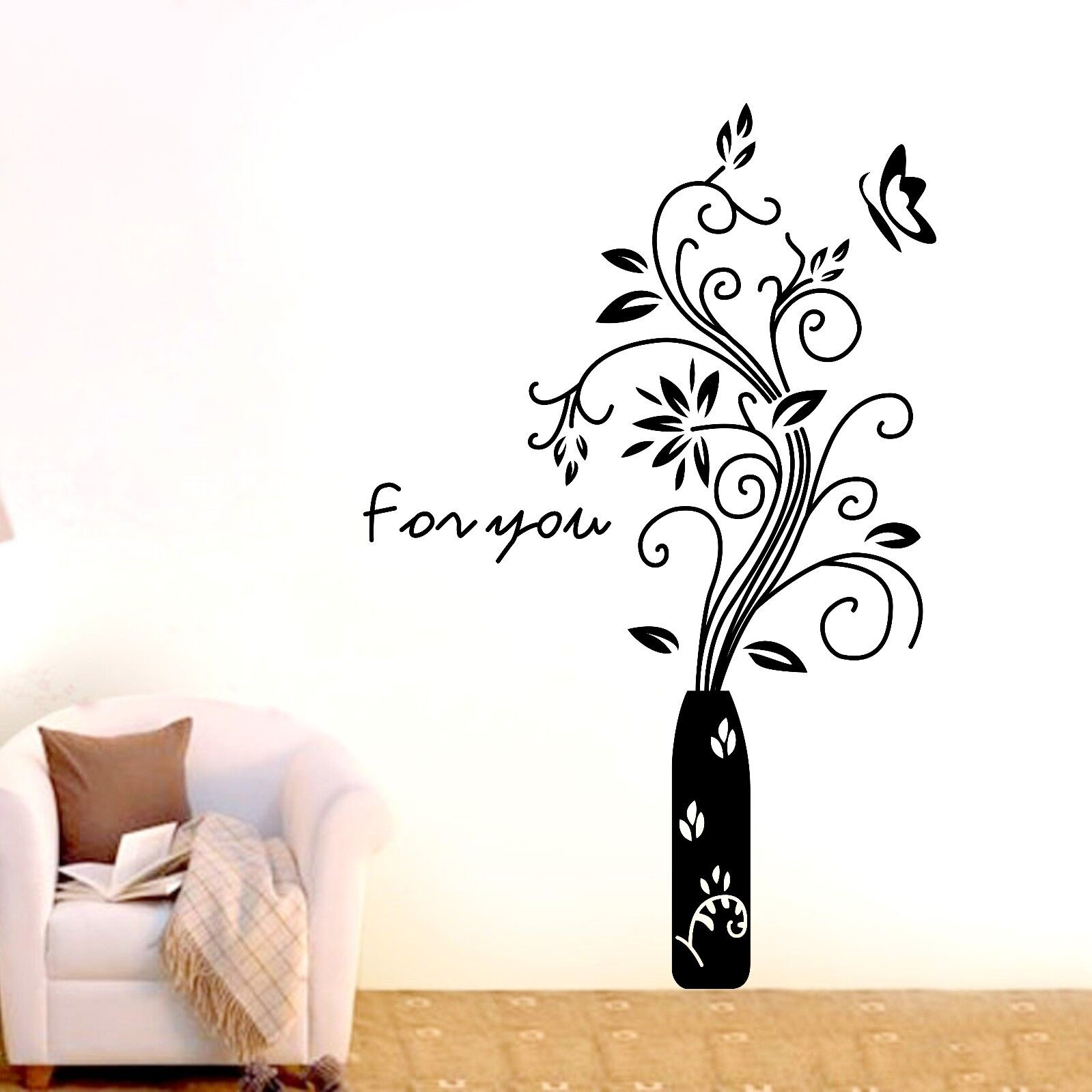 large flower butterfly wall stickers home decal removable diy wall stickers pvc large wall sticker pink girl