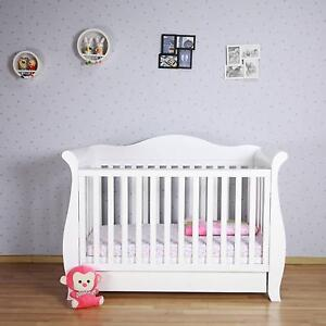 New Zealand Pine 3-in-1 Baby Sleigh Cot Bed with Drawers mattress Campbellfield Hume Area Preview