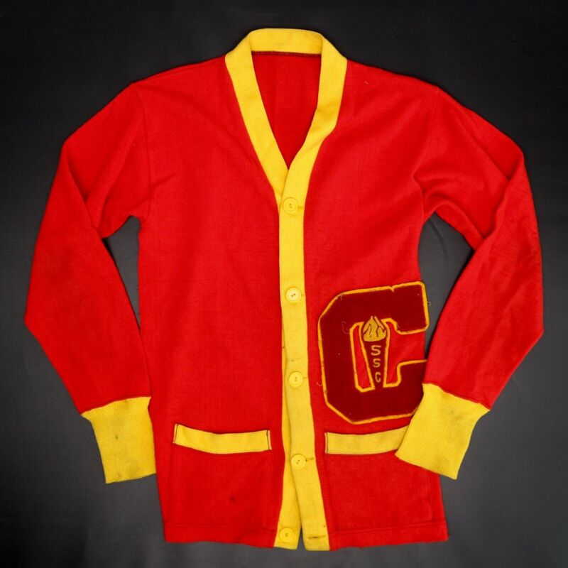 VTG 1970s Chaminade Varsity Letterman Sweater Red