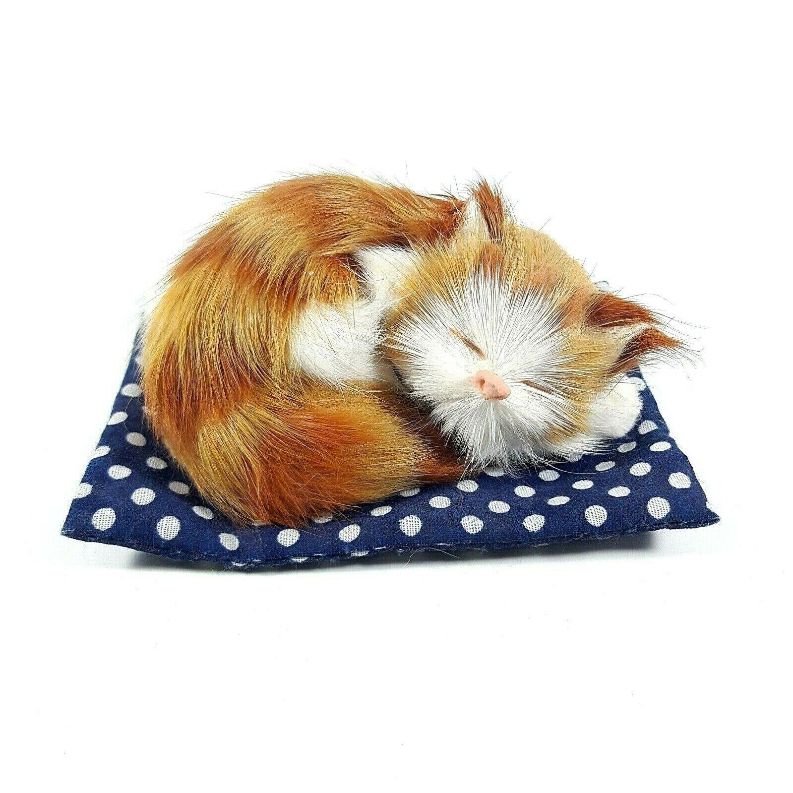Realistic Fur Kitten Furry Soft Cat Sleeping On Mat Rug Animal Garfield Gift Ebay