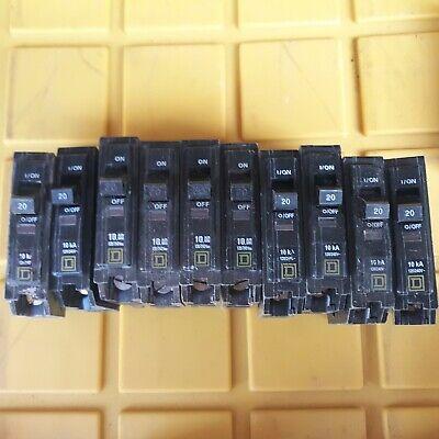 Lot Square D Qob 20 Amp 120v Single Pole Bolt On Circuit Breakers