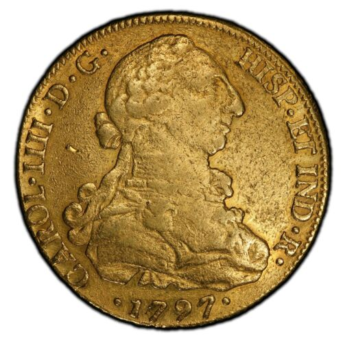 1797So DA Chile 8 Escudos PCGS Certified VF Detail Cleaned Chilean Gold Coin