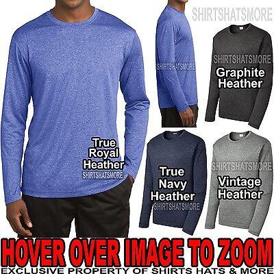 Heathered T-shirt (Mens Heathered LONG SLEEVE T-Shirt Dri Fit Moisture Wicking XS-XL 2X, 3X, 4X NEW)