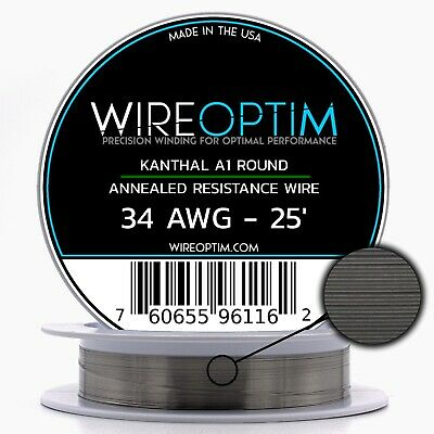 34 Gauge Awg Kanthal A1 Wire 25 Length - Ka1 Wire 34g Ga 0.16 Mm 25 Ft