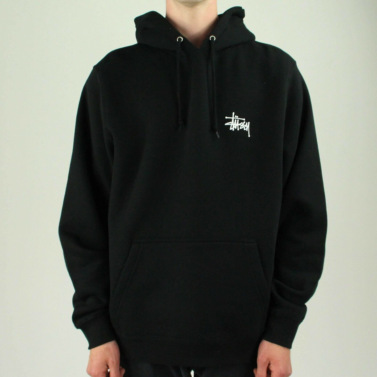 Details zu Stussy Basic Logo Hooded Sweatshirt Hoodie in Black in Size S,M,L,XL