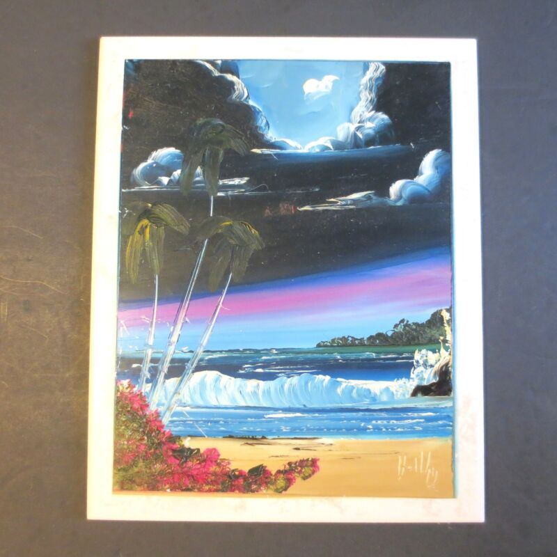 """LARGE 8"""" X 10"""" BEACH w WAVES! """"SIGNED HAND PAINTED FOLK ART"""" POTTERY TILE MEXICO"""