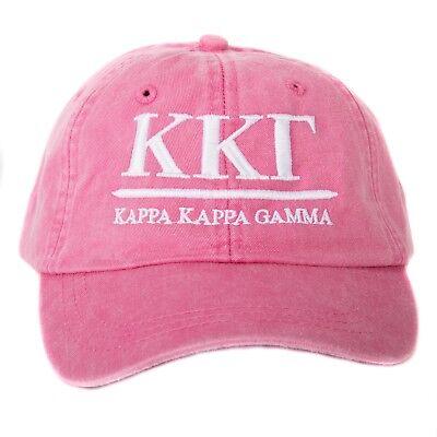 Kappa Kappa Gamma KKG (B) Hot Pink Baseball Hat with White Thread