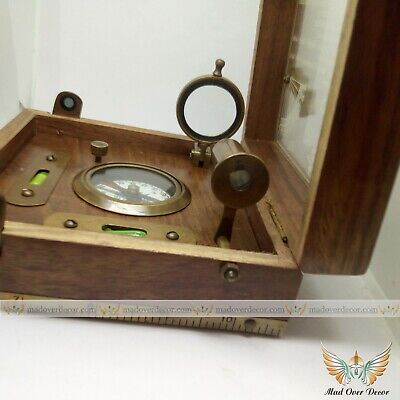 VINTAGE MARITIME COMPASS TELESCOPE SEXTANT W//WOODEN BOX NAUTICAL BRASS GIFT SET