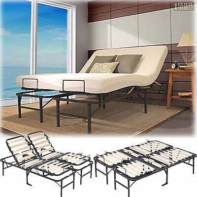 queen size adjustable bed frame head foot wooden slat platform foundation base - Queen Size Adjustable Bed Frame