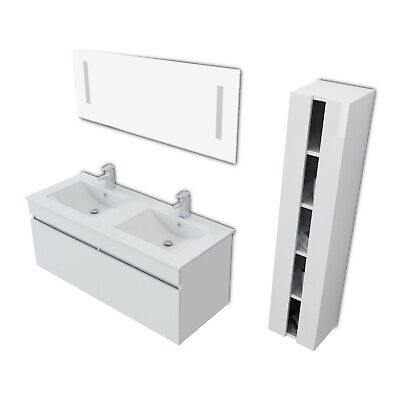 """48"""" White Bathroom Vanity Double Basin Ceramic Sink with Faucet Deluxe Set"""
