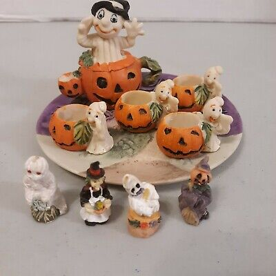 Halloween Mini Tea Set 10 Piece With Pumpkins/Ghost/Mummy/Witch And Scarecrow