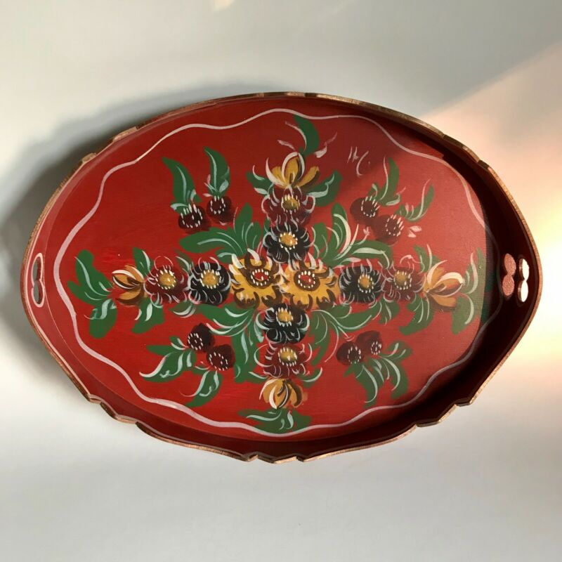 "Hand painted 13"" Red Wood Tray Floral Design Folk Art Hindeloopen Netherlands"