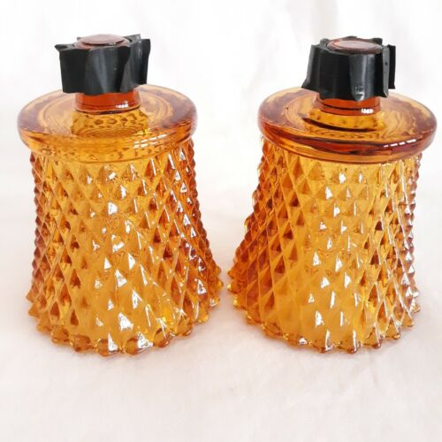 Homco Home Interior 2 DIAMONDLITE Gold Amber Glass Votive CUP Candle Holders