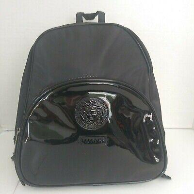 Unisex Versace Parfums BackPack Medusa Head Faux Patent Leather Black Bag Fanny