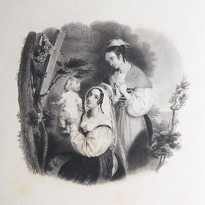 "Antique Engraved Print & Poem ""Wild Geranium"" Flowers of Loveliness (Vintage)"
