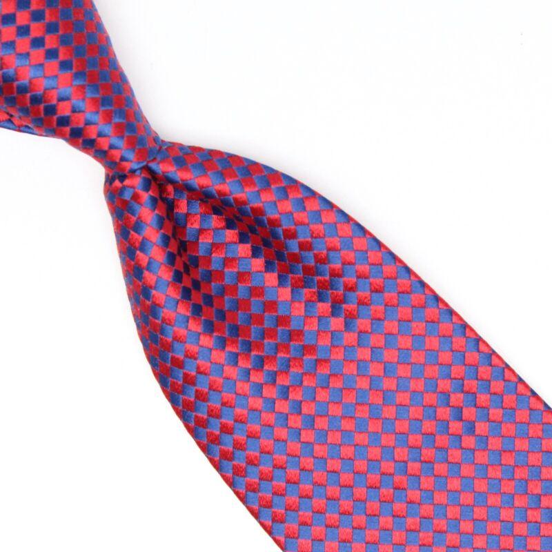 Charvet lieu vendôme hommes cravate soie rouge bleu carreaux tissé france