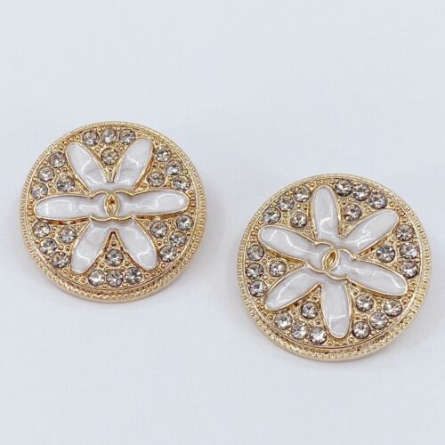 One Pair Authentic CHANEL Buttons, Stamped Gold Metal 25mm Designer Art Buttons