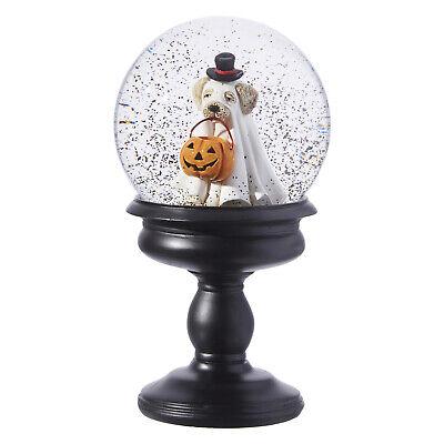 Water Halloween Costume (RAZ Imports Halloween Water Globe on Pedestal w/ Dog in Ghost Costume 8.5