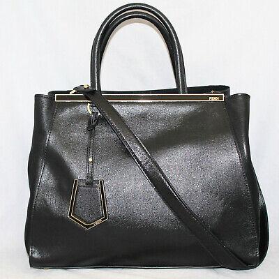 FENDI 2Jours Elite Shopper 8BH251-D7C Black Lthr Convertible Satchel Gold Hdwr