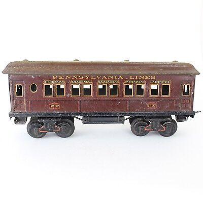 "Bing Gauge 1 Red Pennsylvania Passenger Coach #1207 Tin Litho 13"""