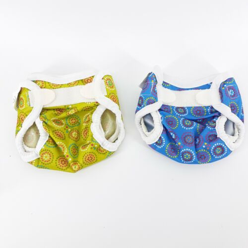 Bummis Super Bright Diaper Covers Blue Green Polka dot Hook & Loop Set of 2 Baby